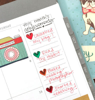Sidebar on Monthly Pages of Planner Used to Track Achievements