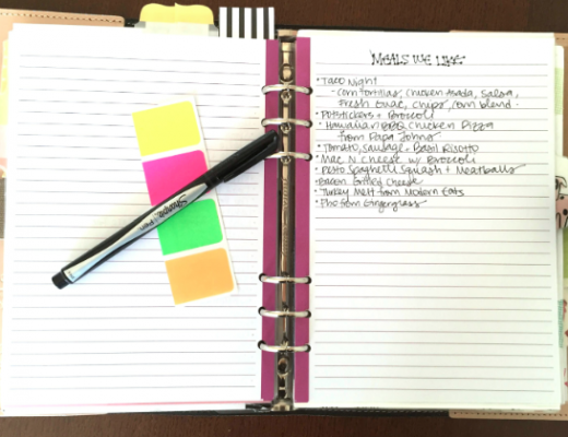 List of Meals We Like in my Filofax Planner Meal Planning
