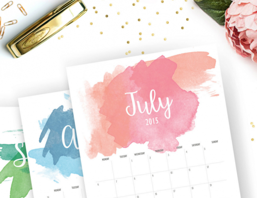 Watercolor Calendar Pages on Stylish Office Desk with Gold Planner Accessories