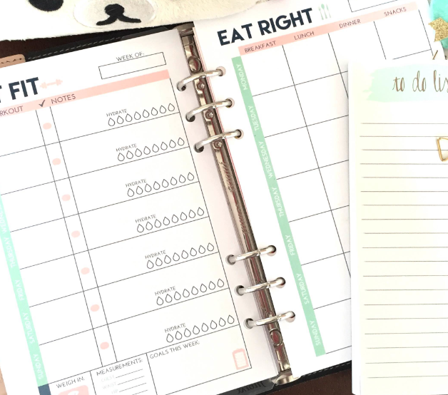 Get Fit and Eat Right A5 Planner Inserts