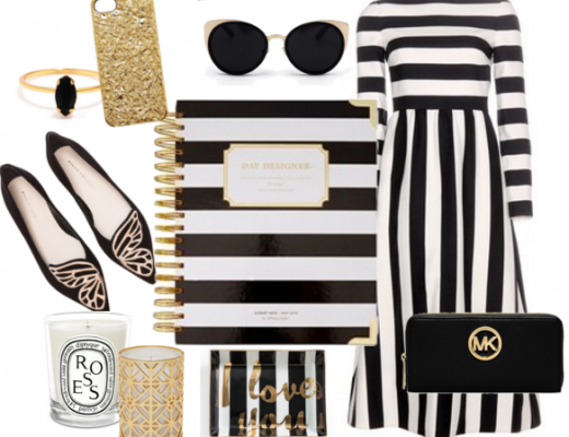Planner Girl Style Black and White Monochrome with Gold Planner Accessories