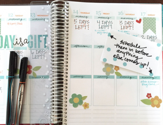 Scheduling in Erin Condren Life Planner Vertical Weekly Layout