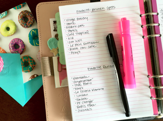 List of Recommendations in Filofax A5 Planner