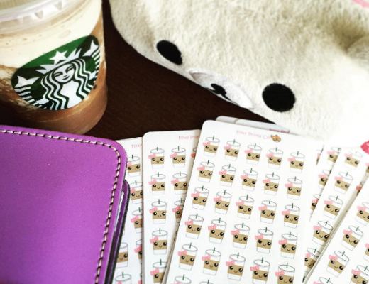 Lilac Filofax with Foxy Prints Co. Iced Coffee Stickers for Planner Girl Provisions