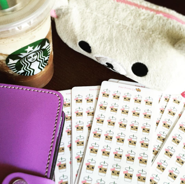 Lilac Filofax with Foxy Prints Co. Ice Coffee Stickers and Starbucks