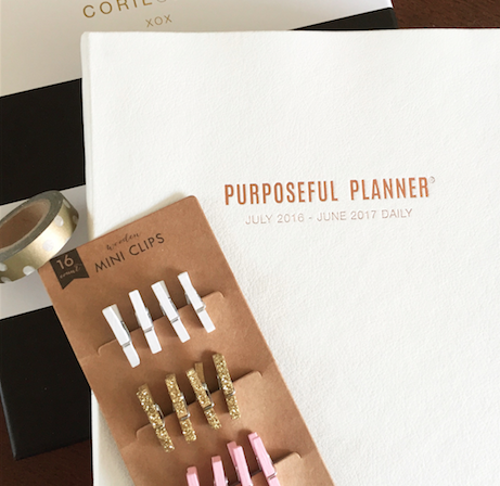 White Leatherette with Rose Gold Purposeful Planner by Corie Clark with Gold Planner Accessories