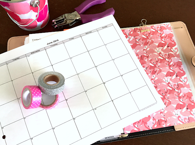 Printed PDF Calendar with Filofax A5 and Planner Accessories