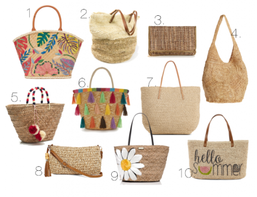 Happy As Annie Flat Lay Collage of Trendy Straw Totebags to Take Your Planner to the Beach