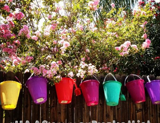 Row of Buckets on Backyard Fence in Summer