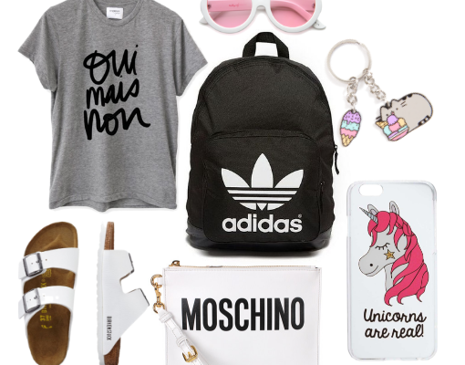 Back to School Style Flat Lay Collage with Adidas BackPack, Birkenstocks, Moschino Purse, and Trendy Fashion Accessories