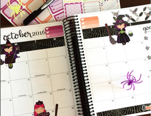 Erin Condren Life Planner Halloween Monthly Spread for October Witch Stickers and Half Boxes