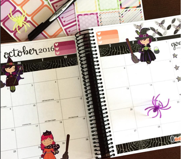 Halloween Spread in Erin Condren Life Planner October Monthly Calendar Pages