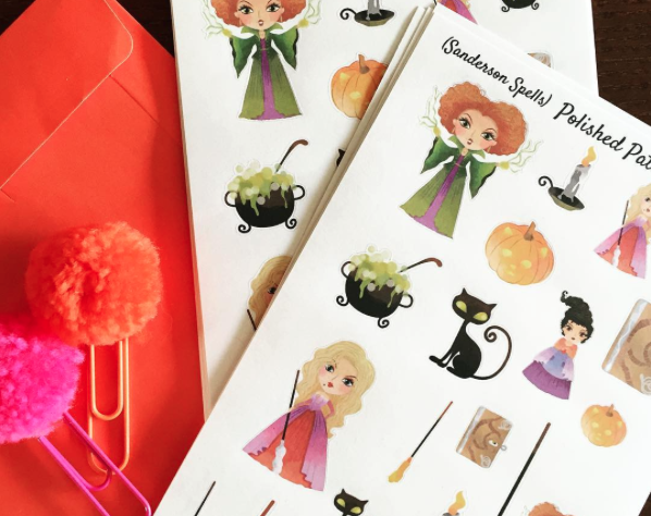 Hocus Pocus Sanderson Sisters Decorative Planner Stickers with Pink and Orange Illustrated Faith pom clips