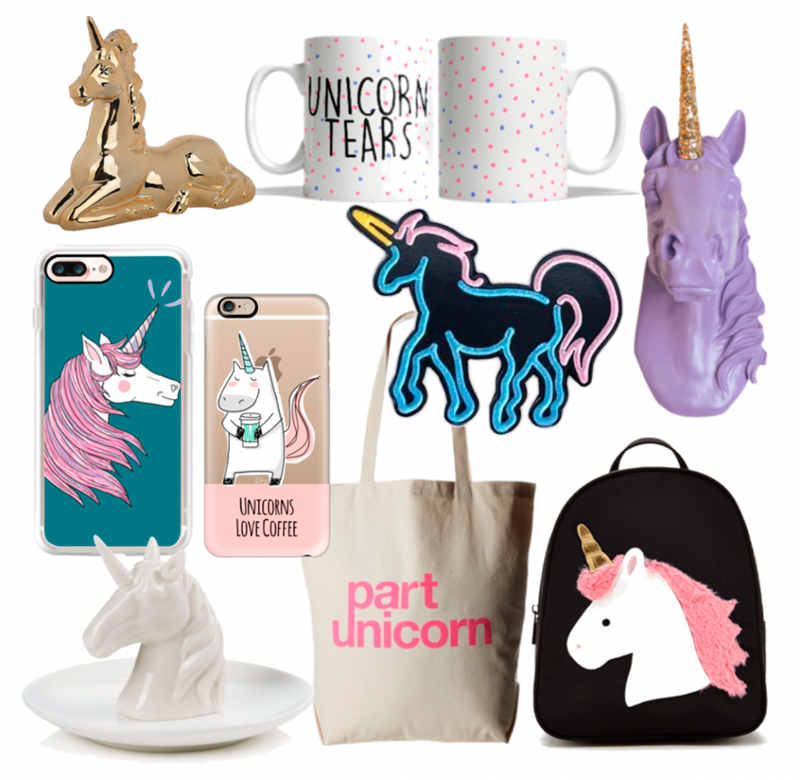 Happy As Annie Trendy Tuesday Flat Lay Collage of Trendy Unicorn Fashion and Home Accessories