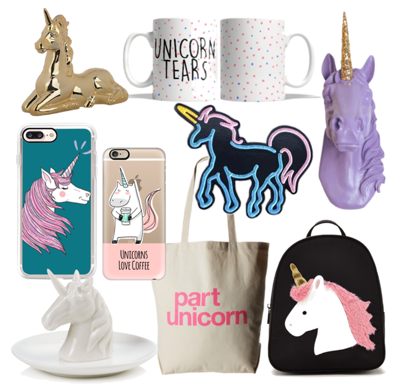 Unicorn Trend Accessories, Home Goods, and Fashion Accessories Flat Lay Collage