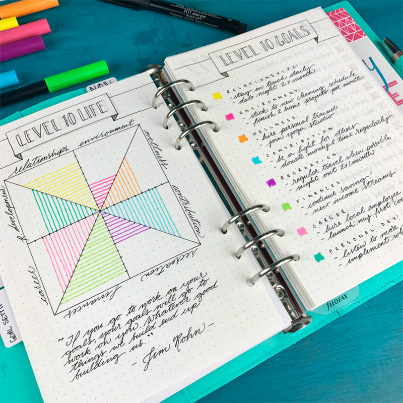Level 10 Life Bullet Journal Spread in Filofax Domino by Boho Berry