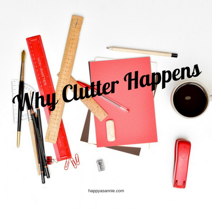 Why Clutter Happens Cluttered Desk with Office Supplies and Coffee