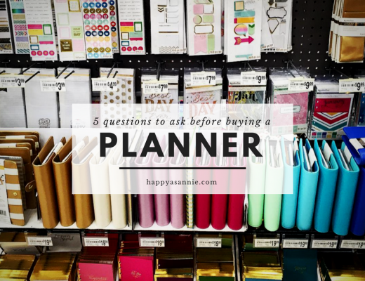 5 questions to ask before buying a planner with Michaels Recollections Planners and Accessories display in background