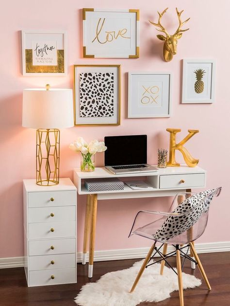 Home Office Trends Gallery Wall Pink Paint And Gold Desk Accessories And Home Accents