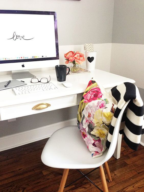 Trendy Office White Desk with Floral Pillow and Love Lettering Computer Desktop Background