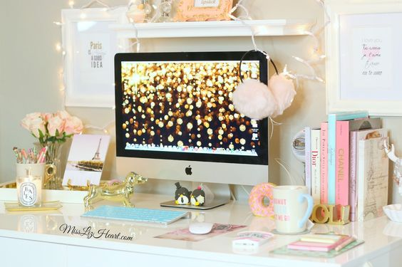 Trendy Office White Desk with Gold Computer Desktop Background Feminine Office Desk Accessories and Home Decor