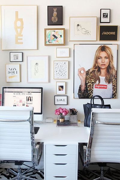 Trendy Office White Double Desk with Fashion Blogger Gallery Wall including Kate Moss print