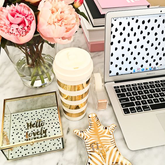 Office Trends Fresh Flowers Gold Desk Accessories and Home Accents for Pink Feminine Office