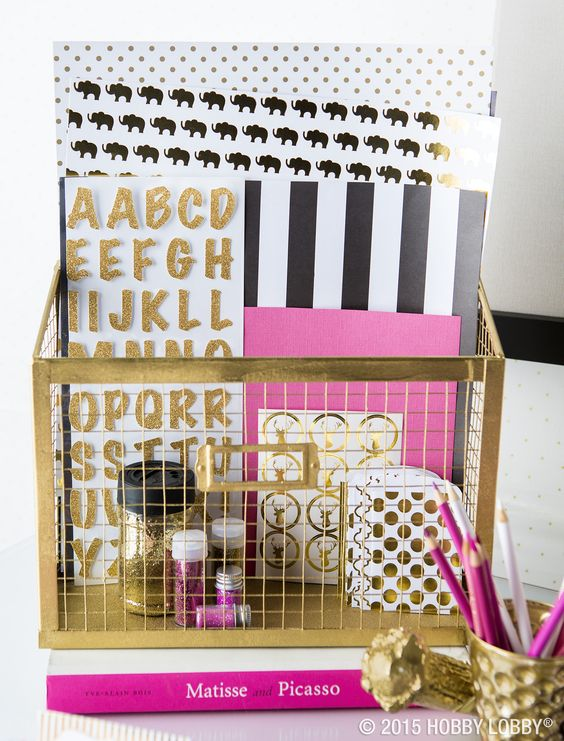 Gold, Pink, and Black Desk Accessories, Stationery, and Planner Accessories Feminine Office