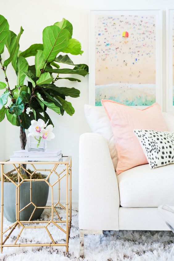 Office Trends White Couch with Gold End Table and Large Plant Feminine Office Home Decor