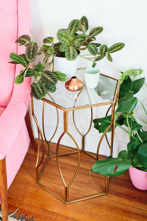 Gold End Table with Trendy Greenery and Pink Furniture Feminine Decor