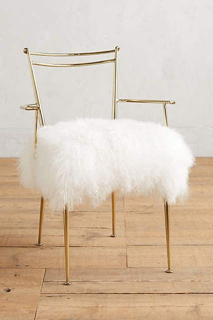 Gold Rimmed Dressing or Office Chair with White Shag Seat Feminine Office
