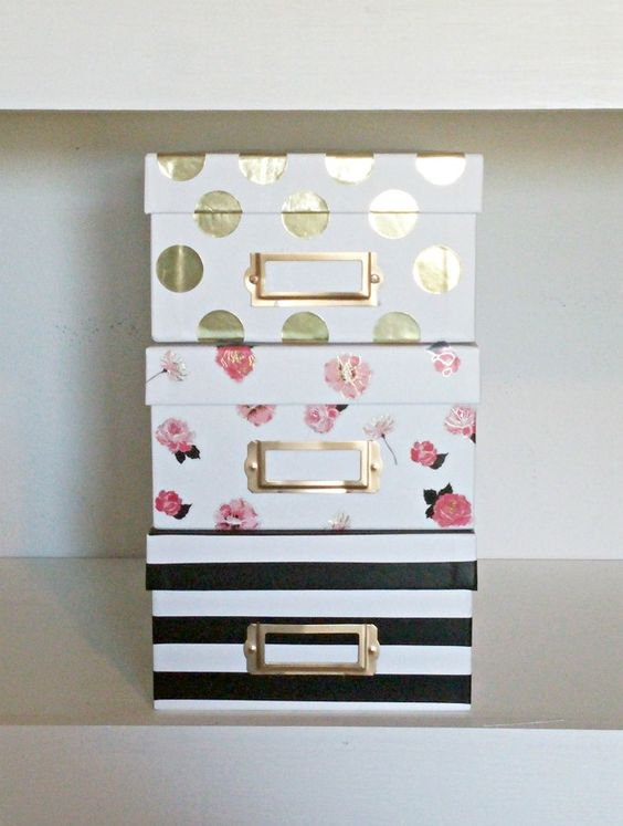 Kate Spade Inspired Patterned Storage Boxes Gold Polka Dot Pink Floral and Black and White Stripes