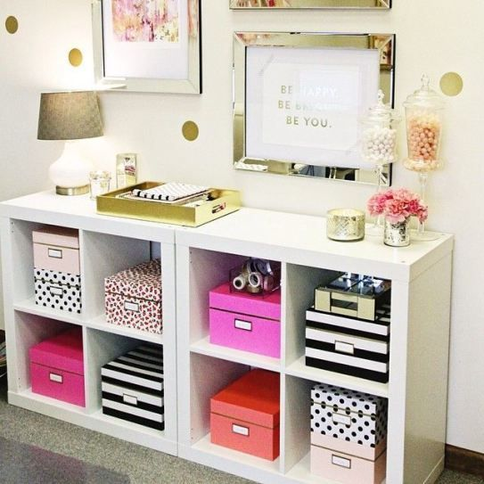 White Expedit Bookshelf with PInk, Black, and White Patterned Storage Boxes Feminine Home Office Decor