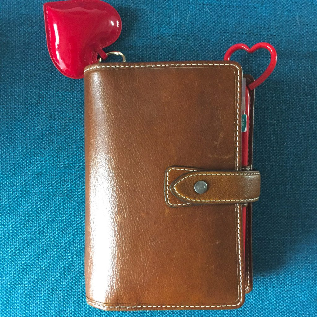 Filofax Malden in Ochre with Red Heart Pen and Red Heart Keychain Planner Charm