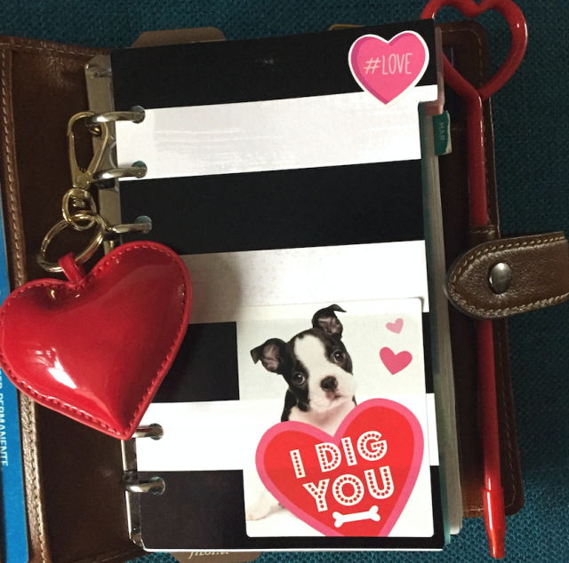 Happy As Annie Filofax Malden with Valentine's Day Striped Puppy Heart Dashboard and Planner Accessories I Dig You Red Heart Keychain and Pen