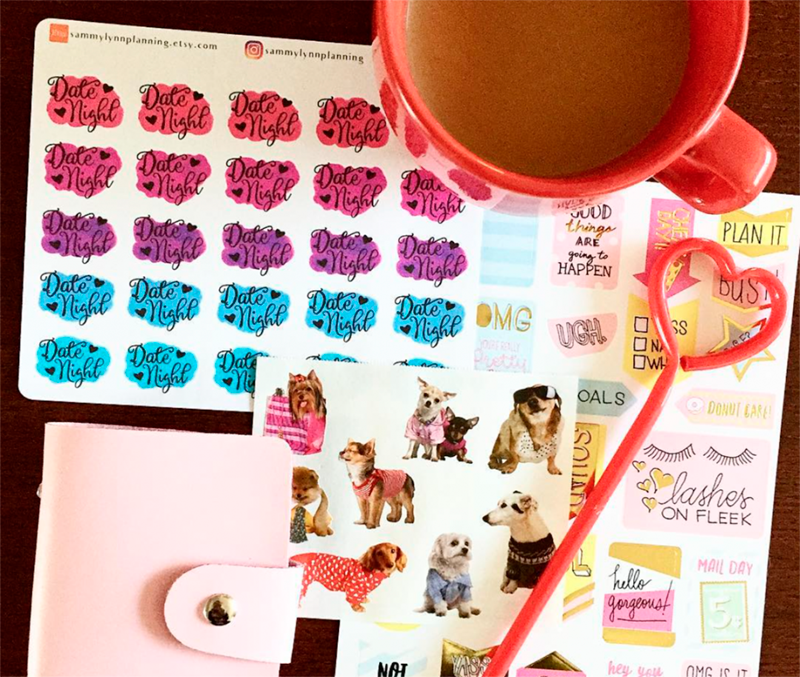 SammyLynnPlanning Date Night Planner Stickers with Planner Girl Provisions February Subscription Box Puppy Love Stationery and Planner Accessories