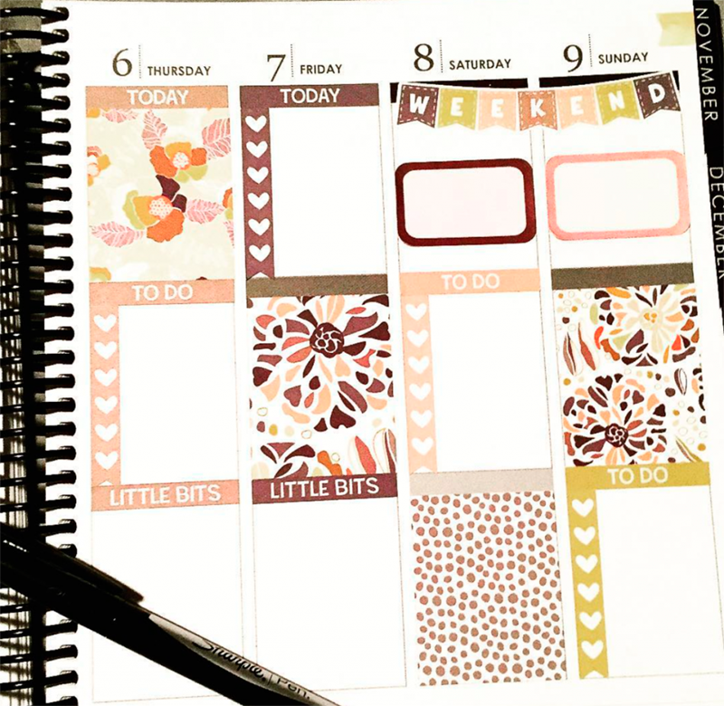 Erin Condren Life Planner Weekly Spread with Floral Sticker Kit