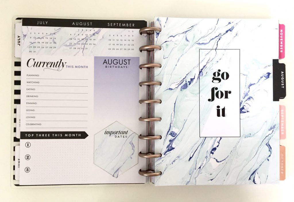 2017-18 Modern Marble Happy Planner August 2017 Dashboard