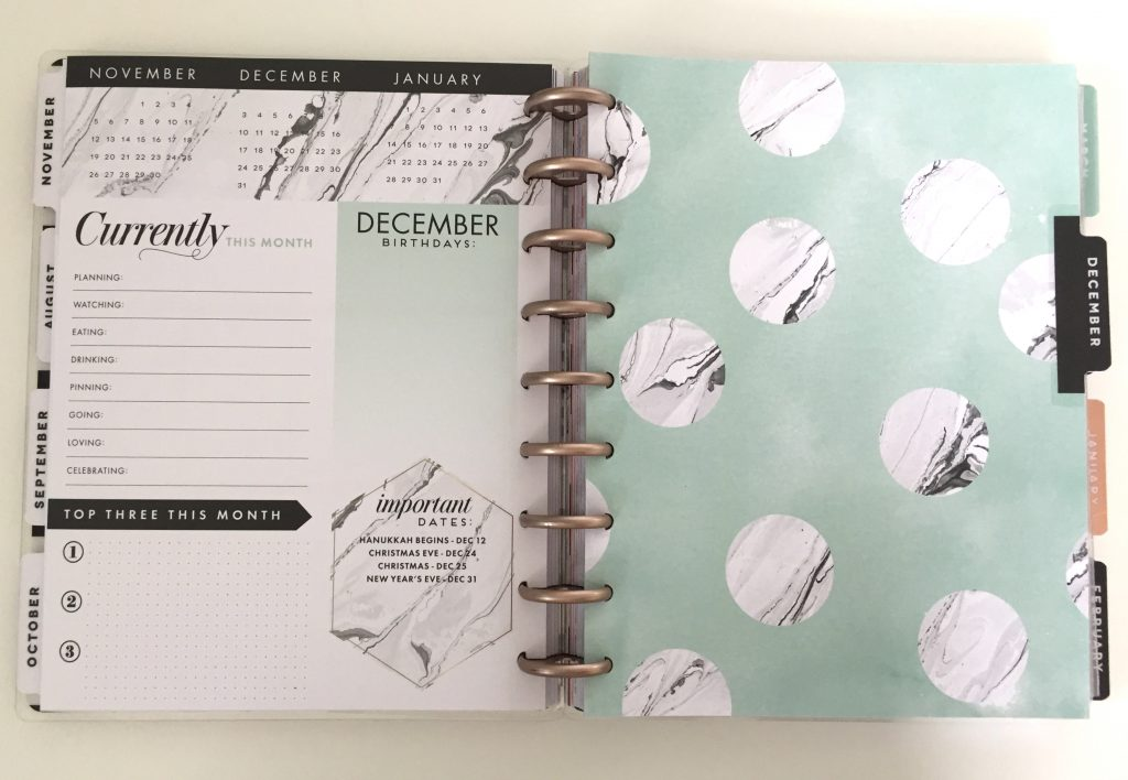 2017-18 Modern Marble Happy Planner Dec. 2017 Dashboard