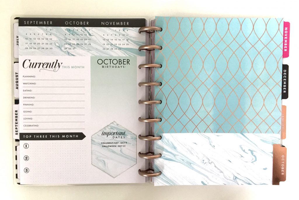 2017-18 Modern Marble Happy Planner Oct. 2017 Dashboard