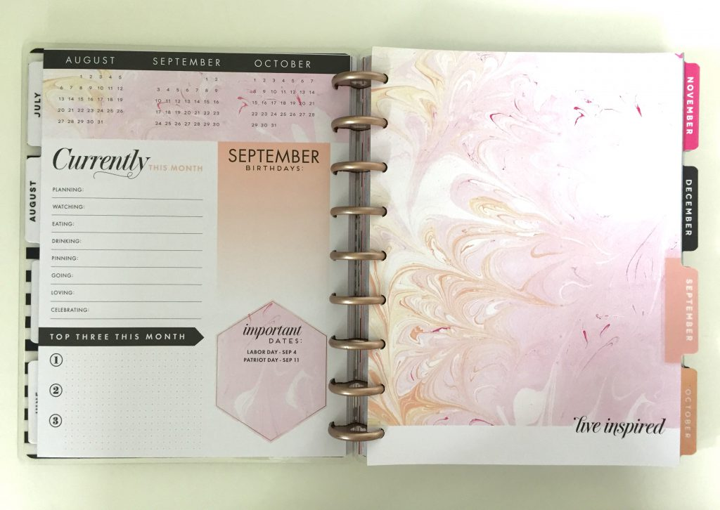 2017-18 Modern Marble Happy Planner Sept. 2017 Dashboard