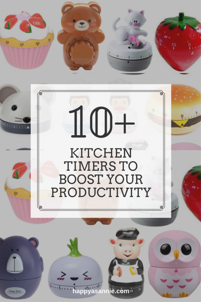 Sources for 10+ adorable AND affordable kitchen timers to boost your productivity. Also read more about the Pomodoro Technique and what timers have to do with productivity!
