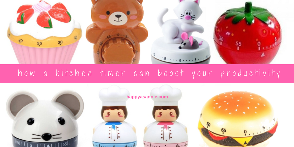 In this blog post, learn how a simple kitchen timer can help you boost your productivity and get more done with less burnout. Also find out how you can get really adorable timers at a great price to ensure your work space is fun as well as functional!