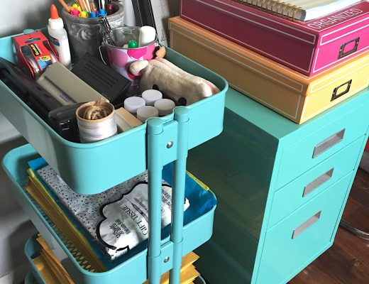 Happy As Annie Ikea Raskog Cart in Turquoise to hold Planners, Planner Accessories, and Organize Office Space and Stationery