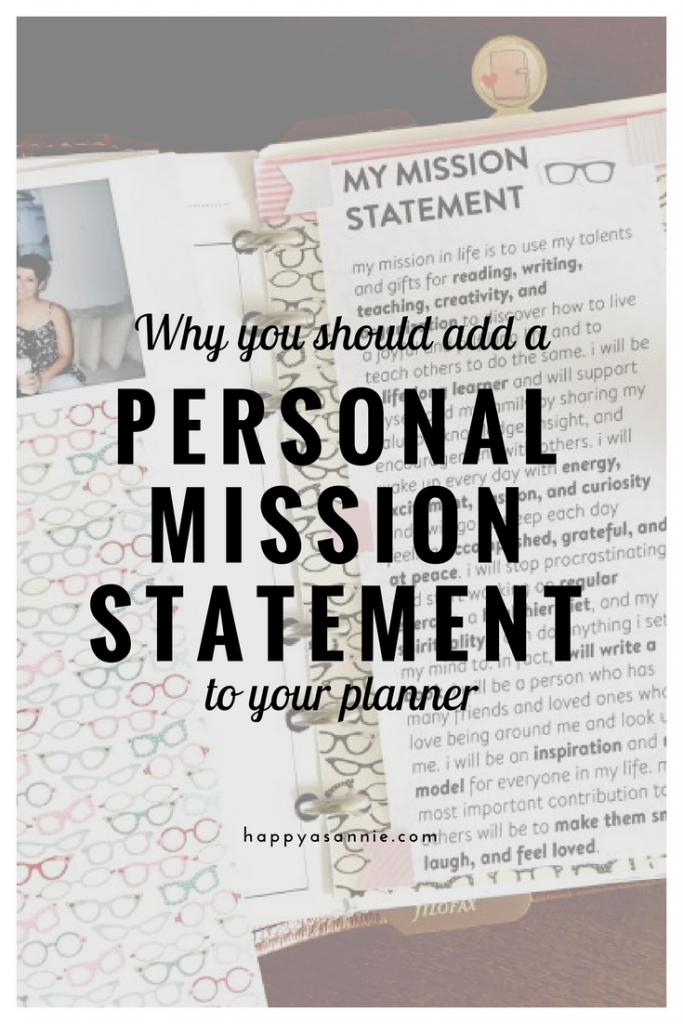Why you should add a Personal Mission Statement to your planner.
