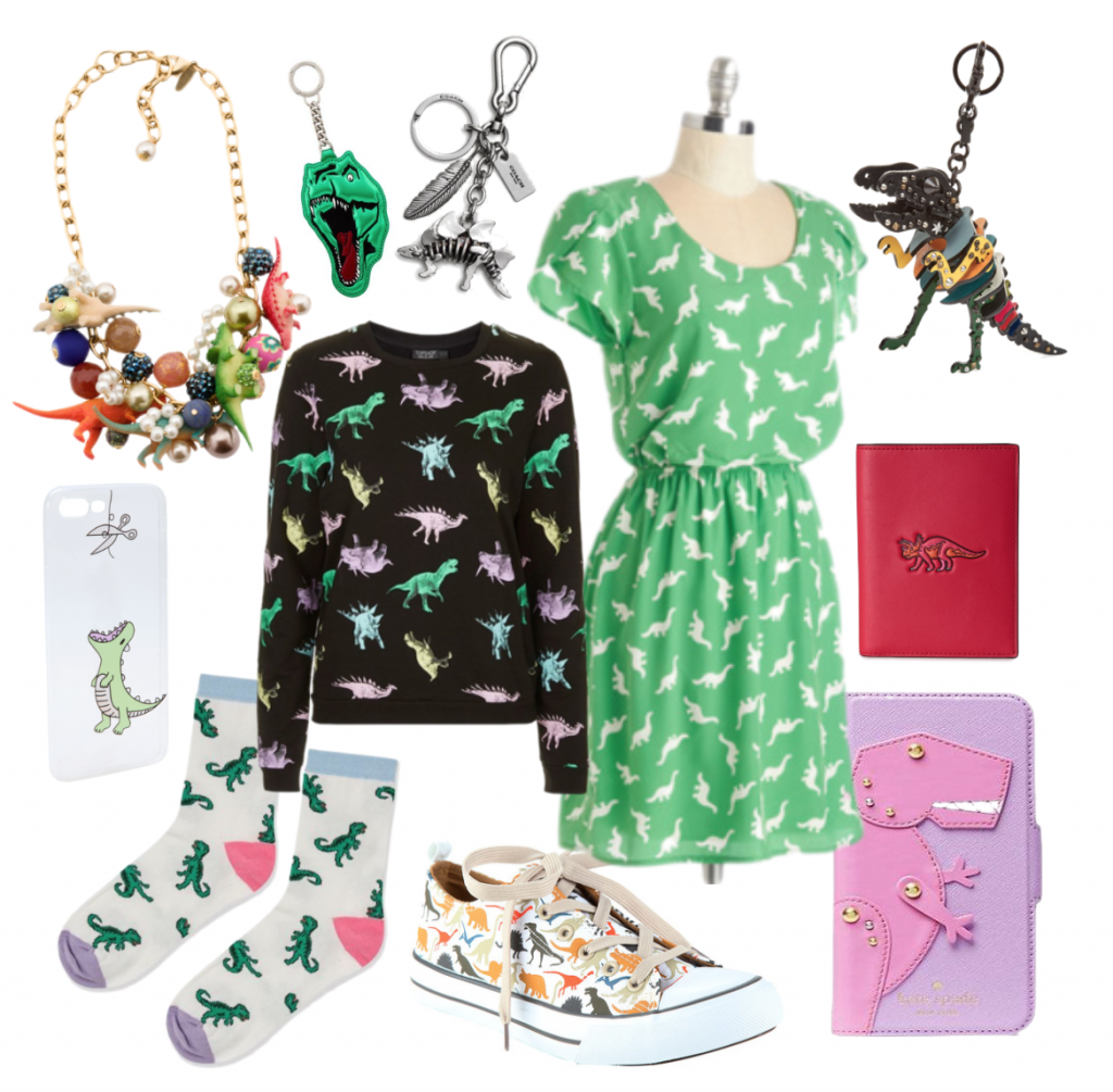 The dinosaur trend has taken over high and fast fashion alike. Dinosaurs are featured on clothing from Topshop and Modcloth, Keychains and leather accessories from high fashion houses like Coach and YSL, and other accessories.