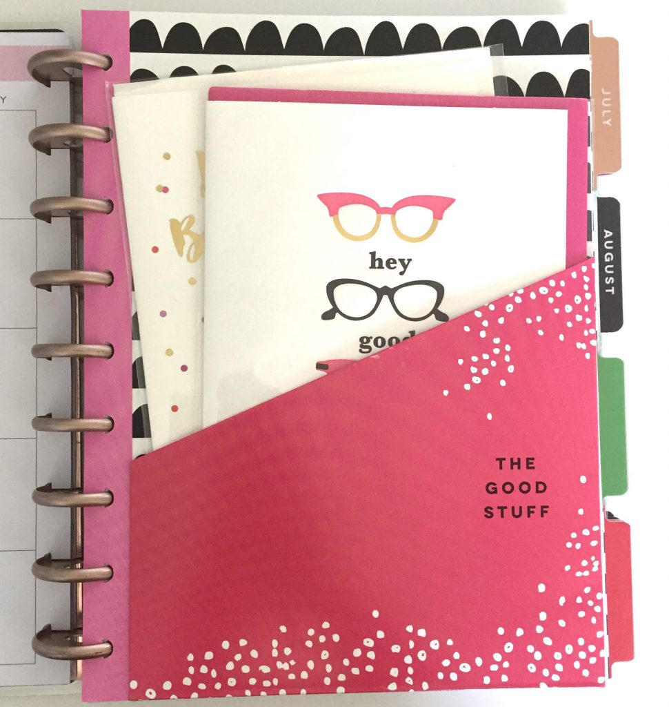 Use the Happy Planner divider pockets to store birthday cards you want to send out that month.