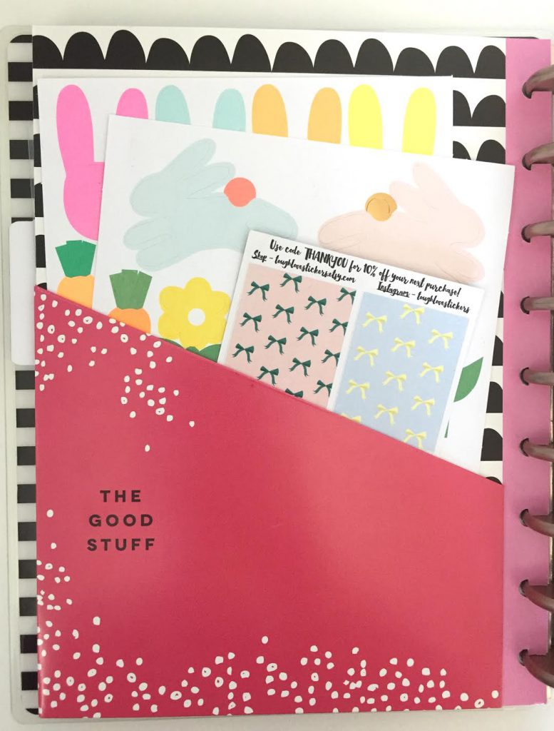 Use the Happy Planner Pocket Dividers to store stickers you want to use in a particular month.