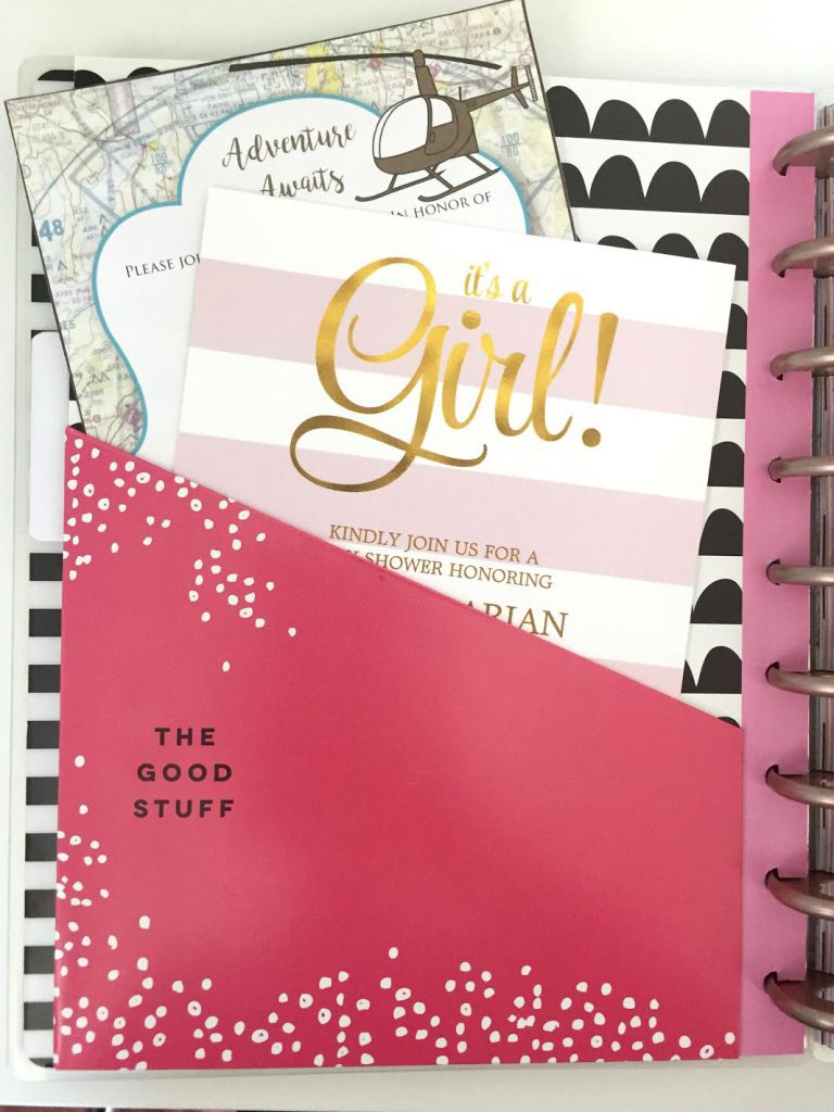 Use the Happy Planner Pocket Dividers to store invitations to events for each month.