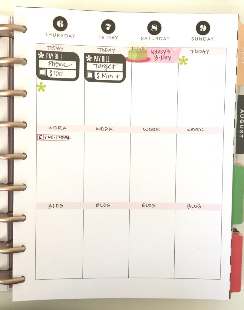 Set up the rough landscape of your week first in your Happy Planner.